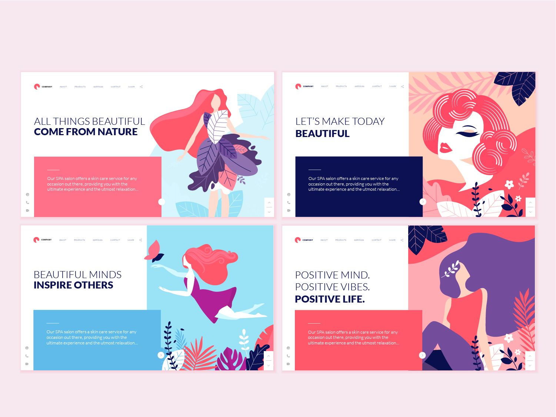 set of web page design templates for beauty ui design ui design
