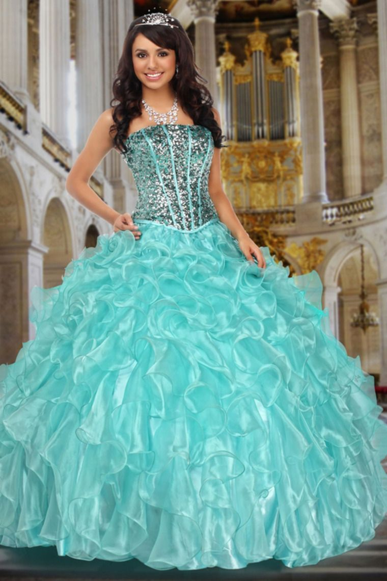 Strapless Beaded Bodice Quinceanera Dress Floor Length With Ruffled ...