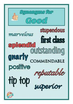 Synonyms Posters Wow Words And Vocabulary Display Synonym Posters Wow Words Spelling And Handwriting