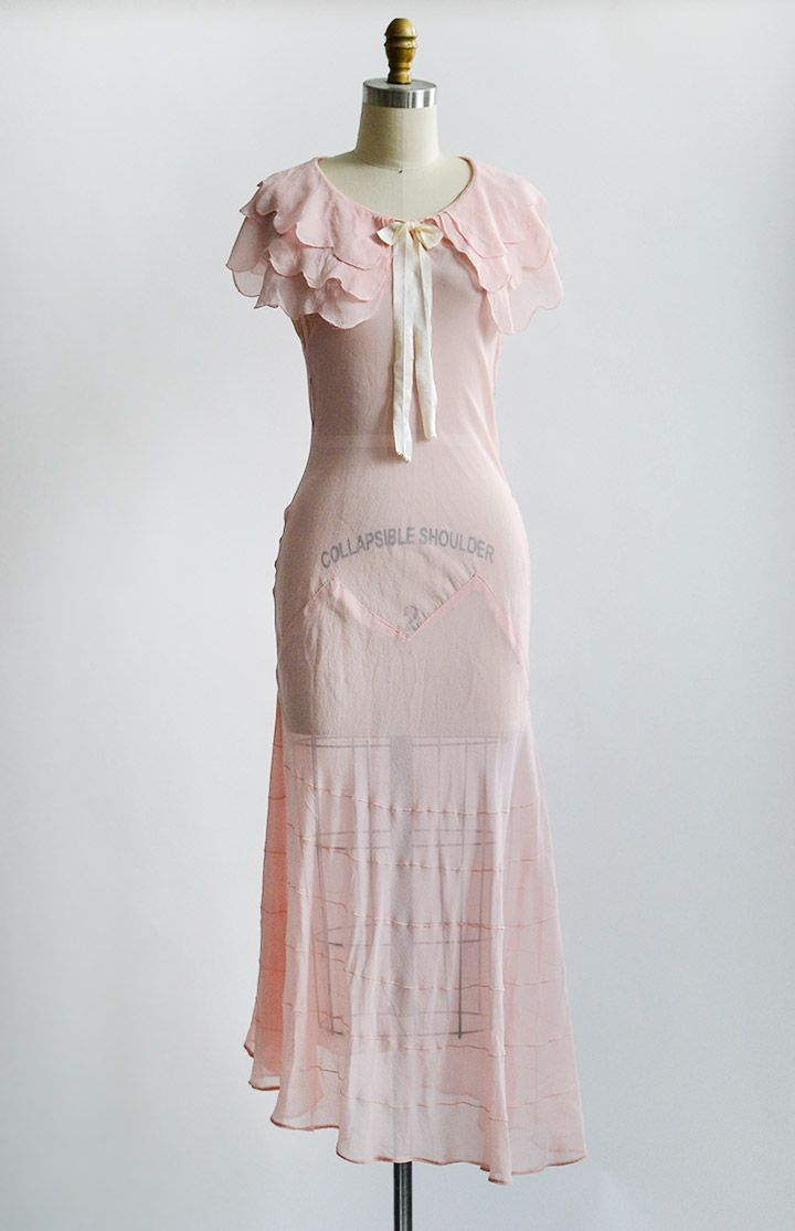 1930s Sheer Petal Pink Bias Cut Gown With Sweet Layered