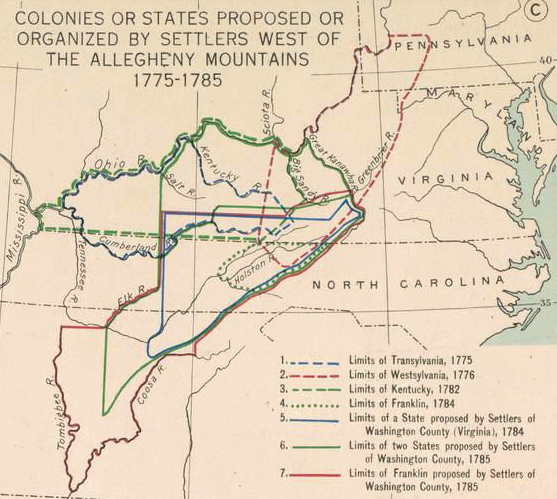 Colonies or States Proposed or Organized by Settlers West of ...