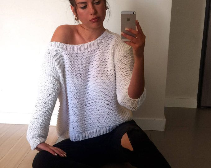 Suéter de algodón grueso, blanco del hombro suéter, suéter tejido ...