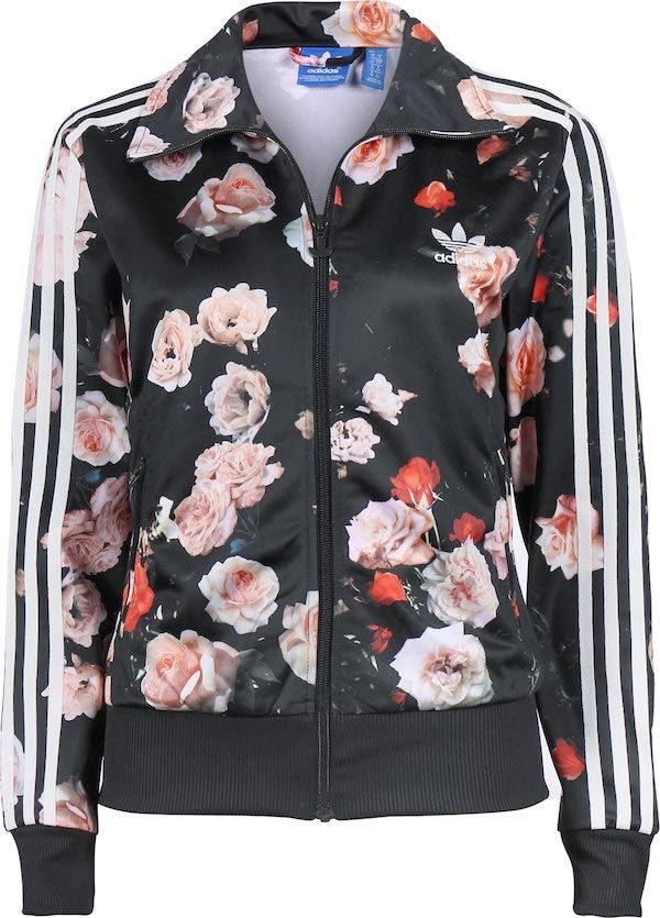 d0b19a338da Rita Ora s Blushington Makeup   Beauty Lounge Adidas Black Floral Rose  Print Jacket and Matching Pants