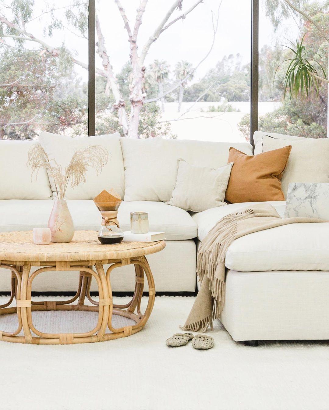 Photo By Amberthrane Boho Living Room Coffee Table Rattan Coffee Table [ 1345 x 1080 Pixel ]