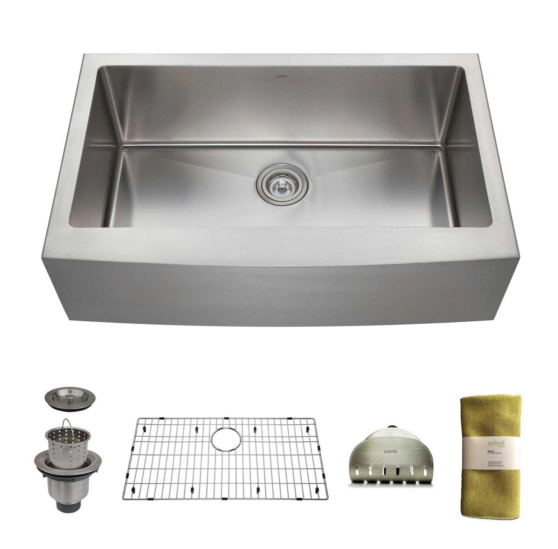 Zuhne 33 Inch Farmhouse Apron Deep Single Bowl 16 Gauge Stainless Steel Luxury Kitchen Sink - - Amazon.com