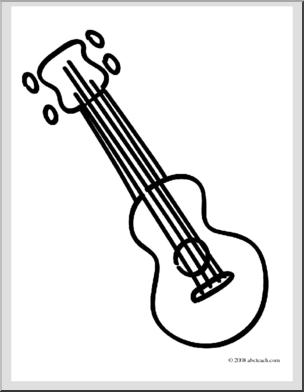 Clip Art Basic Words Ukulele Coloring Page Preview 1 Clip Art Ukulele Coloring Pages