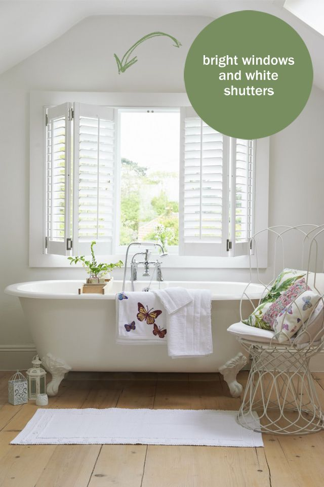 Roll Top Bath Big Windows With White Shutters Wicker And