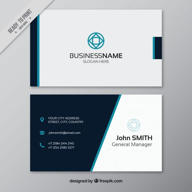 Business Card With Blue Elements Free Vector
