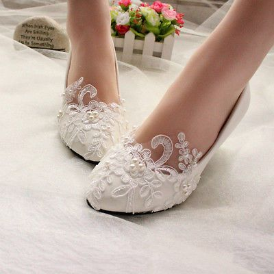 7955e4b14803 Lace white ivory crystal Wedding shoes Bridal flats low high heel pump size