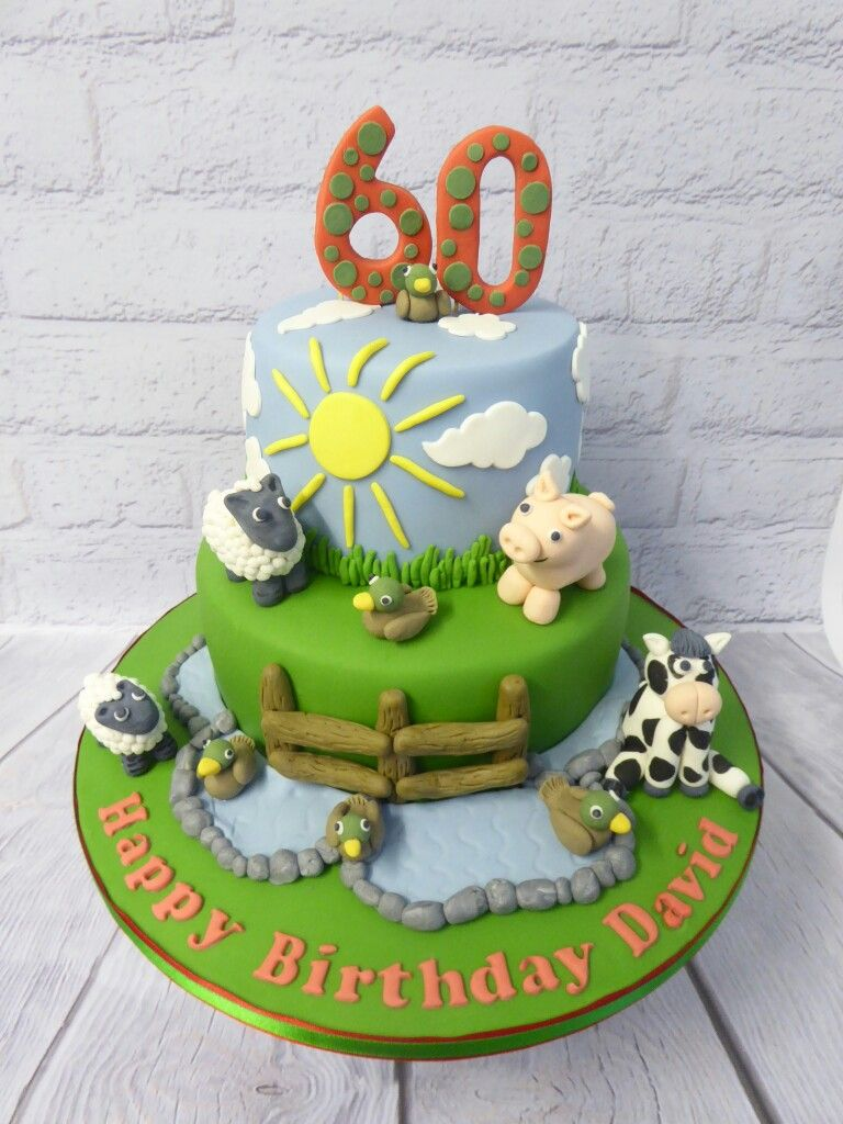 Magnificent 2 Tier Farming Themed 60Th Birthday Cake Bolos De Aniversario Funny Birthday Cards Online Sheoxdamsfinfo