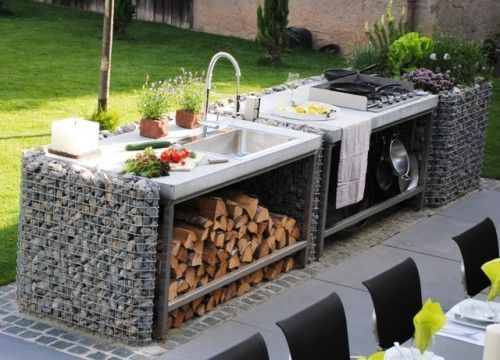 Gabionen gabo flex individuelles und besonderheiten for Outdoorkuche mit grill
