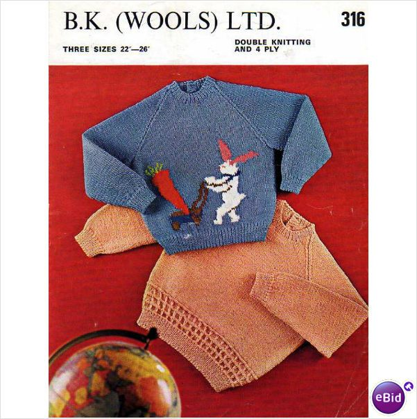B.K. Wool toddler's bunny with carrot motif sweater Vintage knitting pattern 316 on eBid United Kingdom