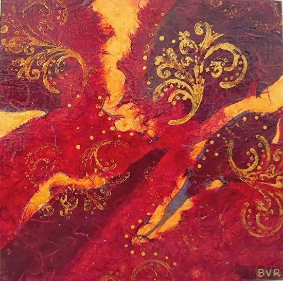 "Mixed Media Artists International: Contemporary Abstract Mixed Media RED Painting,""Serenade"" by California Contemporary Artist Barbara Van Rooyan"