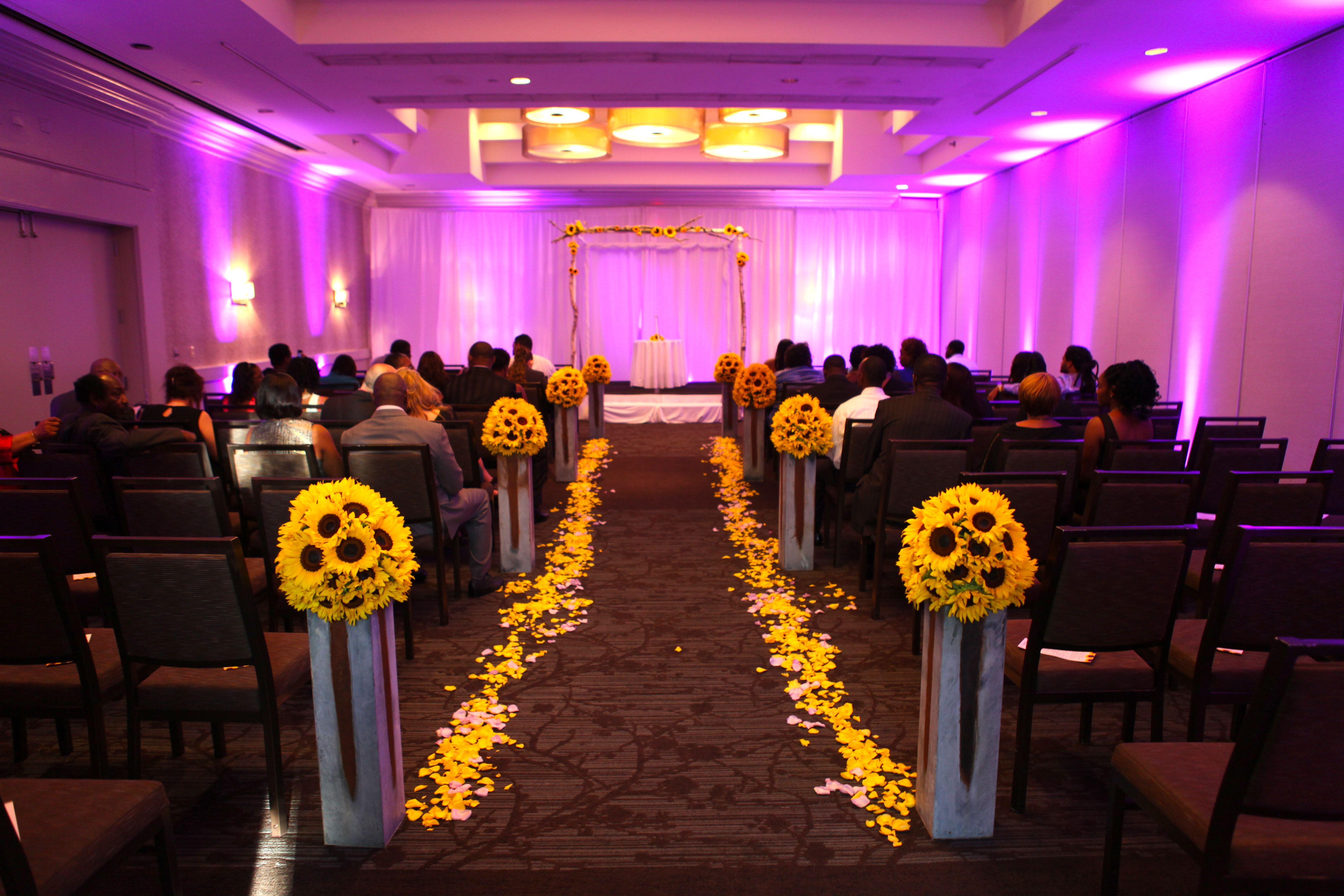 sunflower wedding, purple uplighting, ever after floral designs ...