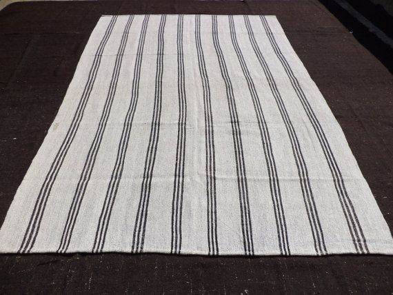 Large Black And White Stripe Kilim Rug 10 6 X7 2