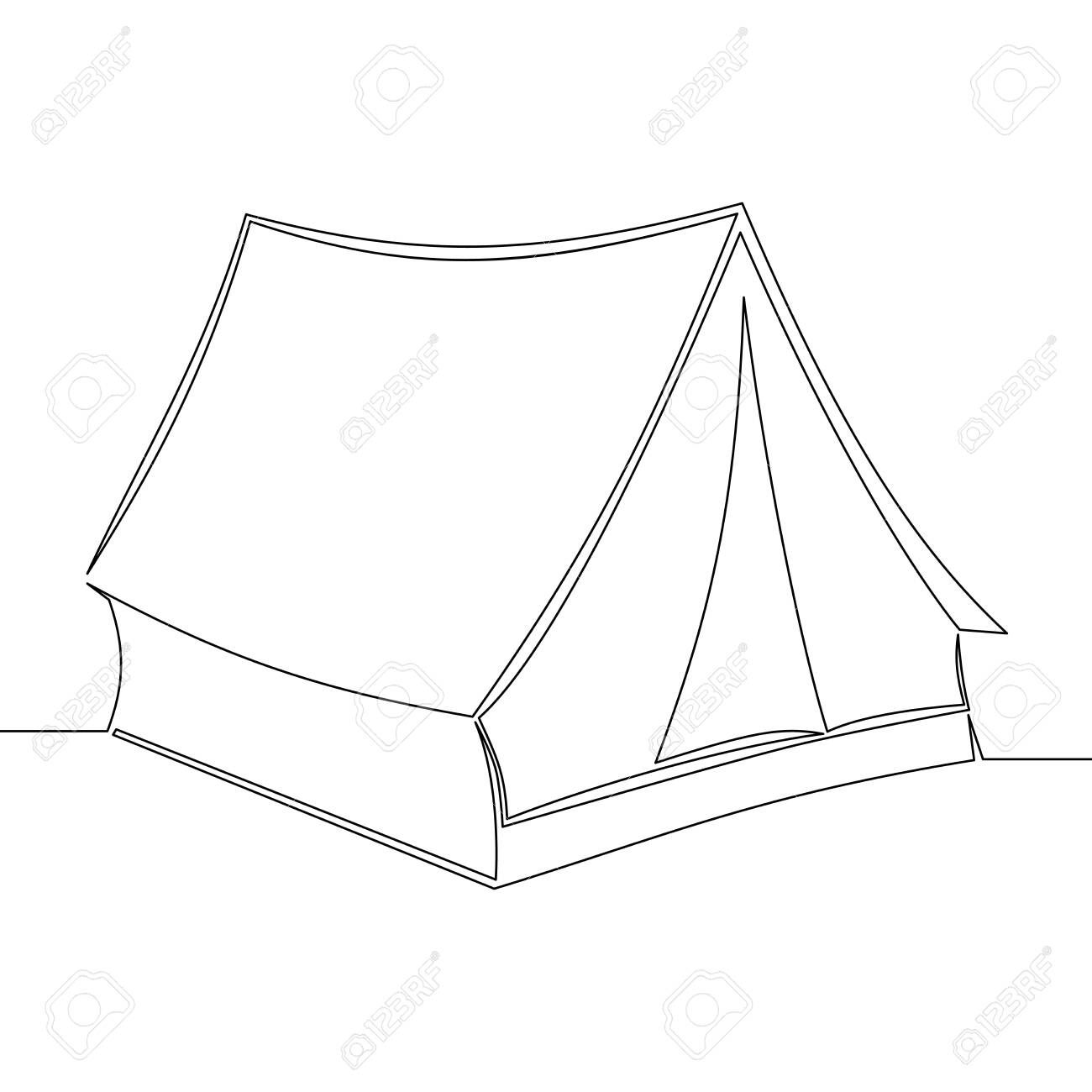 Continuous One Single Line Drawing Tent Icon Vector Illustration Concept Stock Vector 137563475 In 2021 Single Line Drawing Line Drawing Tent Drawing