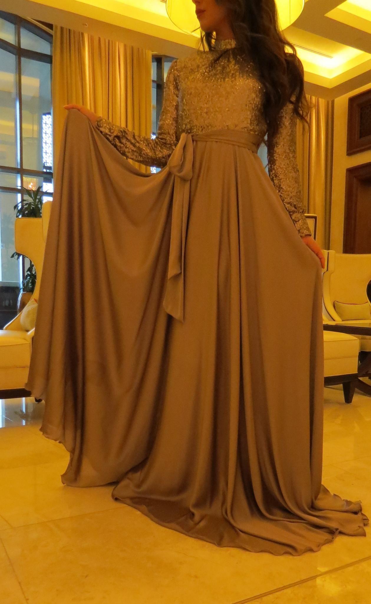 Muslim women long evening dresses sequin top sequin abaya in dubai