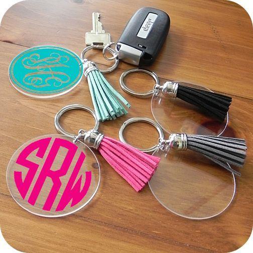 Acrylic Disc Keychain With Tassel