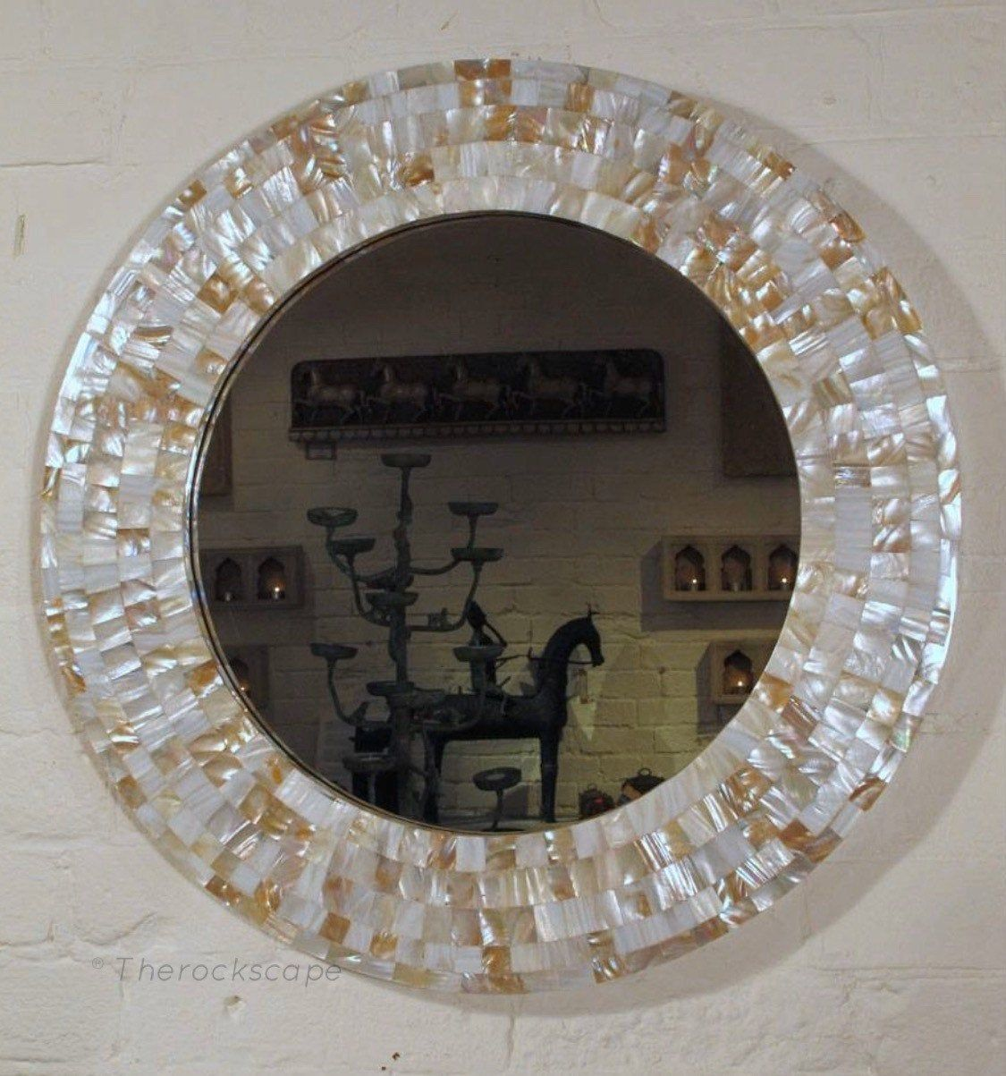 Mother Of Pearl Mirror Frame Reclaimed Wood Frame Bathroom Etsy Mother Of Pearl Mirror Mirror Frames Rustic Frames
