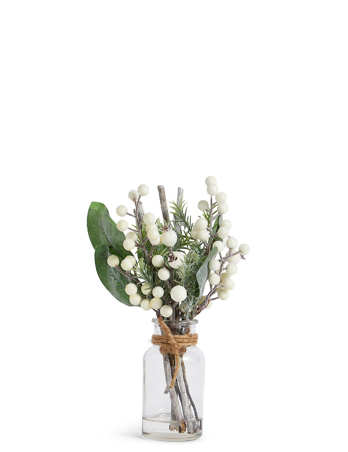 Glitter berry twigs in clear vase clear vases