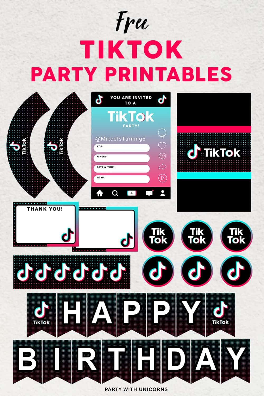 Free Tiktok Party Printables Party Printables Free Party Printables Easy Party Decorations
