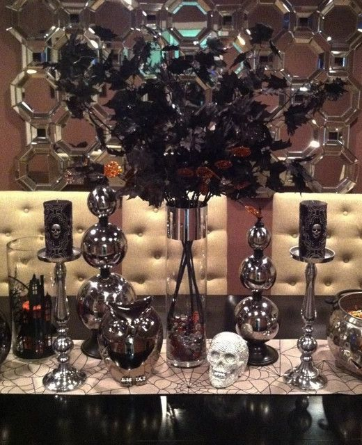 @ortizlisseth's spooky Halloween Table! Features our Axis Floor Mirror and Metallic Skull