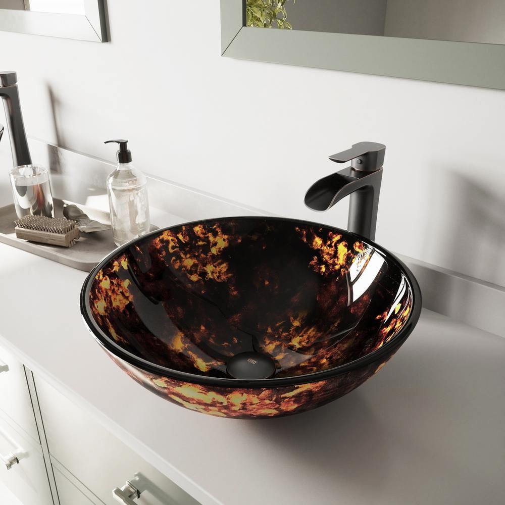 Vigo Glass Vessel Bathroom Sink In Brown And Gold Fusion And Niko Faucet Set In Antique Rubbed Bronze Vgt1037 Glass Vessel Glass Vessel Sinks Sink