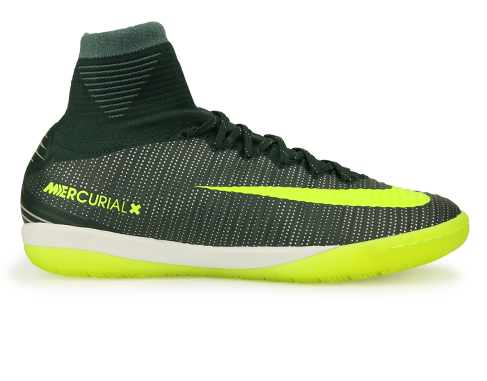 quality design 73c2d 5a9cc Nike Men s MercurialX Proximo II CR7 Indoor Soccer Shoes  Seaweed Volt Hasta White