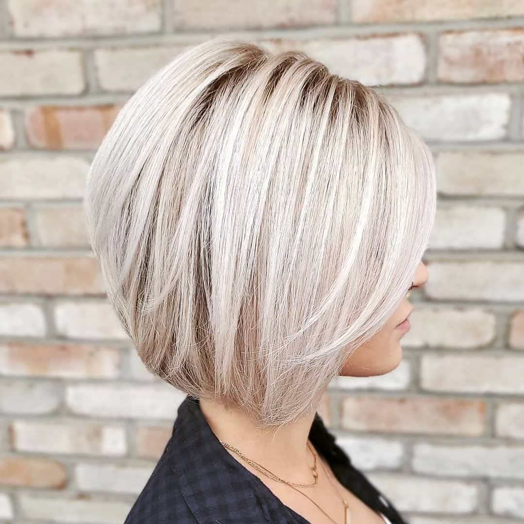 Official Page Short Hair Ideas On Instagram Today In The Sunshine Ashvaughanhair Cool Short Hairstyles Blonde Bob Hairstyles Bob Hairstyles For Thick