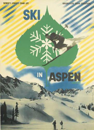 Herbert Bayer, poster design for Ski in Aspen, Colorado, 1942.