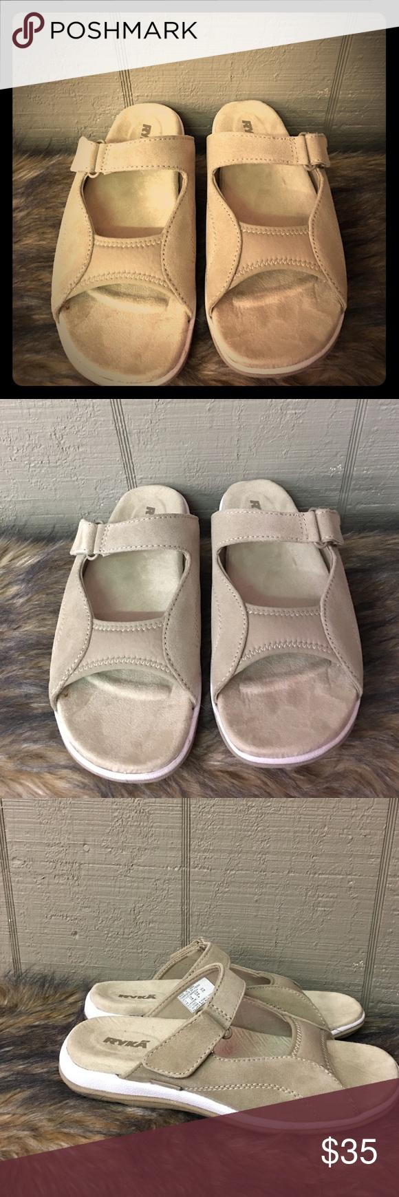 Ryka sandals shoes - Ryka Suede Cream Slip On 8w Sandals Ryka Suede Cream Slip On 8w Sandals Ryka Shoes