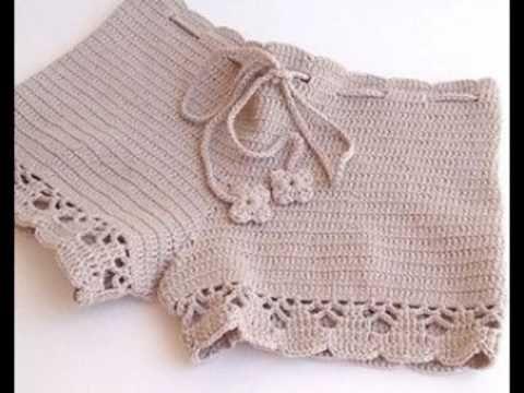 Pantalón corto – Bermuda – shorts para mujer tejido a crochet ...