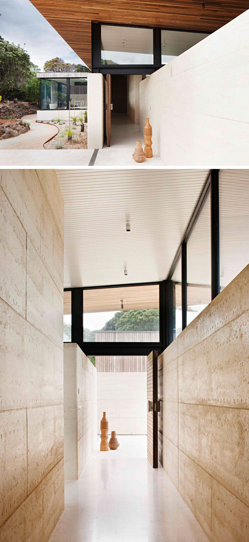 Local materials and techniques were used when building this modern house with the sand component of the rammed earth walls being locally sourced and built