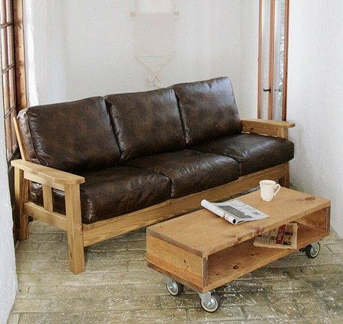 Leather Loveseat With Wood Arm Rests Wood Leather Sofa Leather