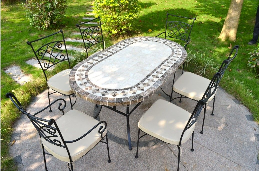 71 94 Oval Outdoor Stone Patio Dining Table Marble Mosaic