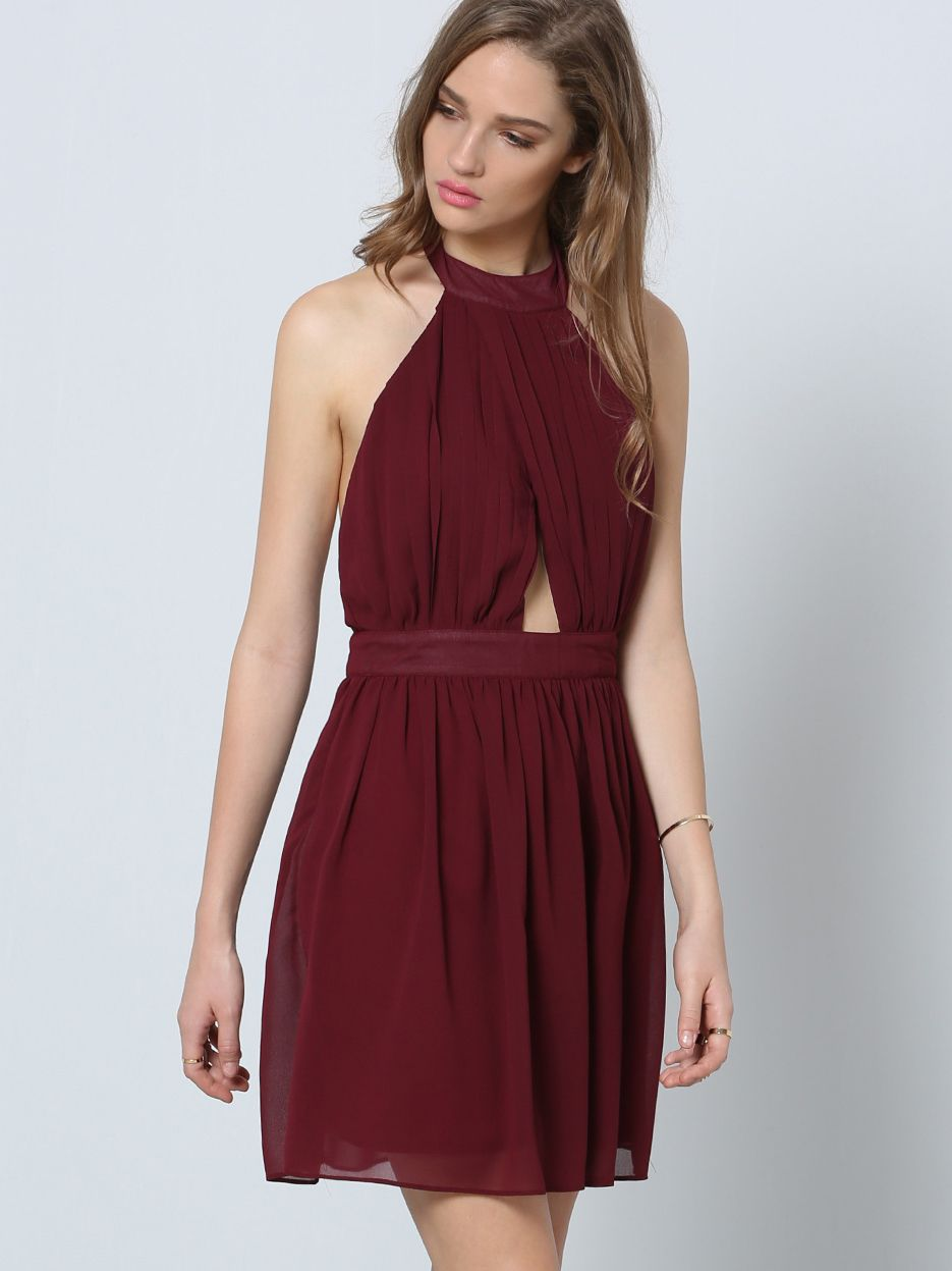Burgundy Halter Sleeveless Cut Out Pleated Dress | Fashion ...