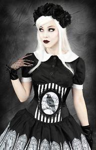 Raven Black and White Stripes Cameo Corset Crow Gothic Steampunk Steel Corset | eBay