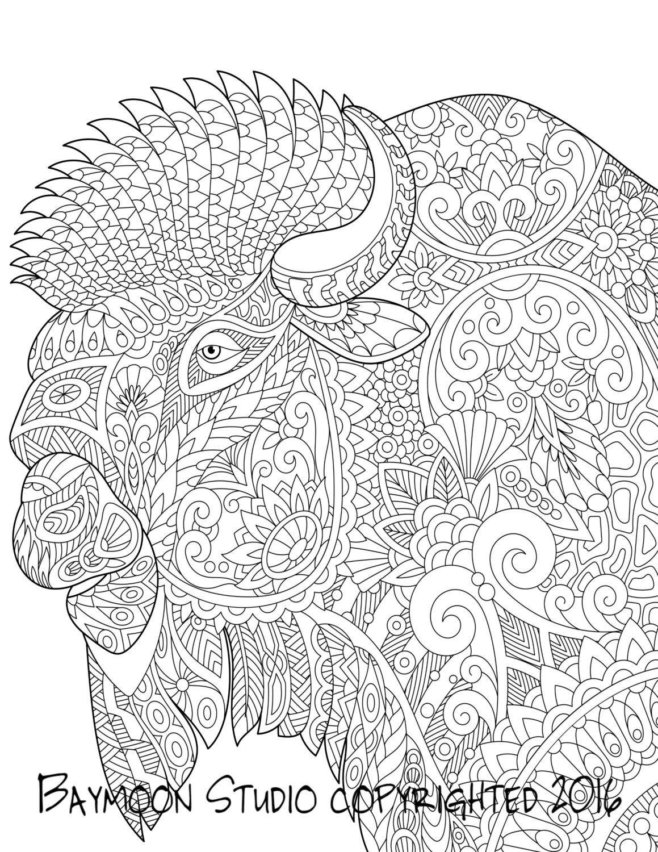Bisonte para colorear página arte de Buffalo por BAYMOONSTUDIO ...