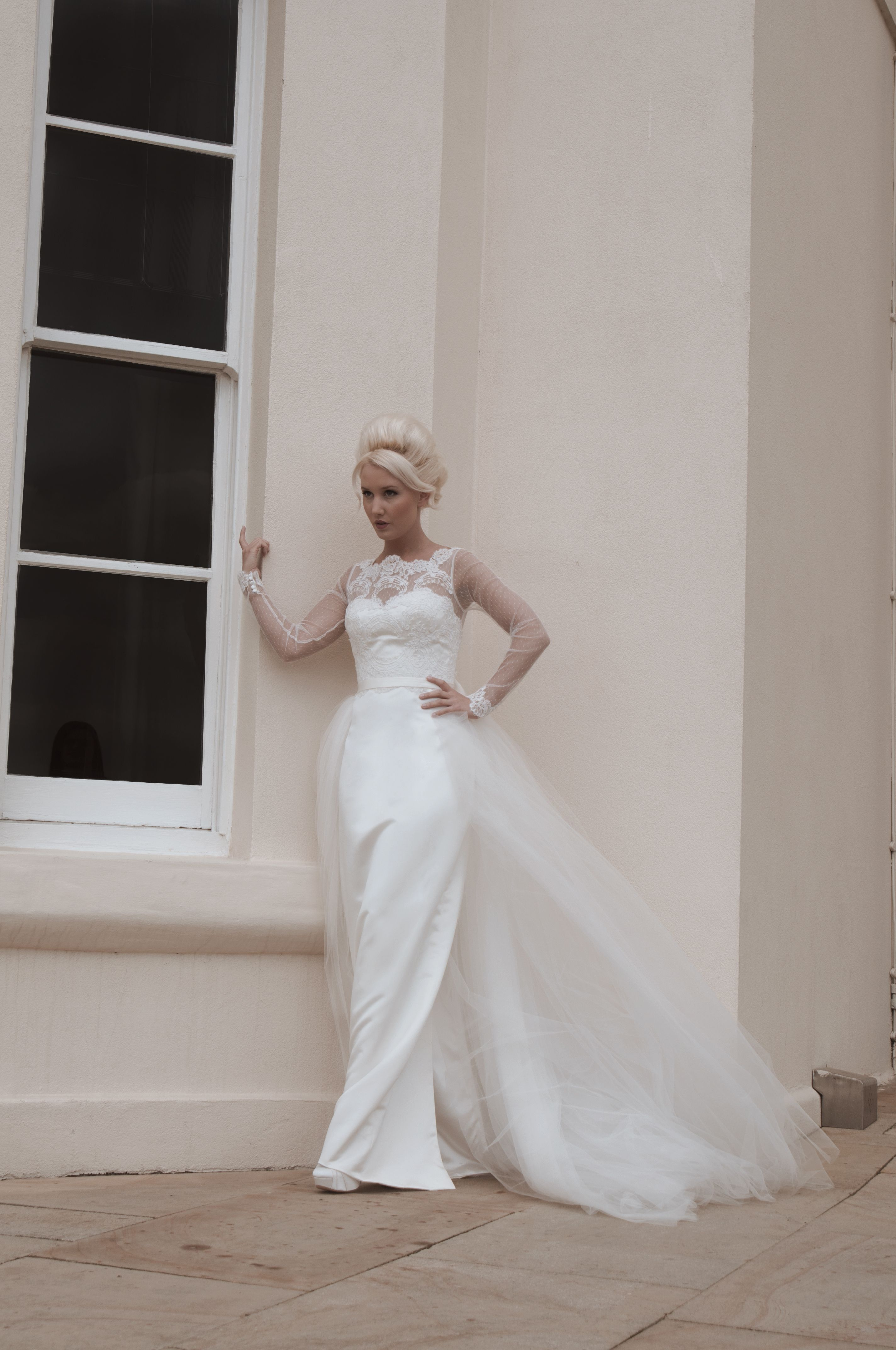 Mooshki Jane Knee Length Pencil Skirt Wedding Dress With Lace Sleeves And Detachable T Tea Length Wedding Dresses Lace Short Wedding Dress Tulle Wedding Gown [ 4288 x 2848 Pixel ]
