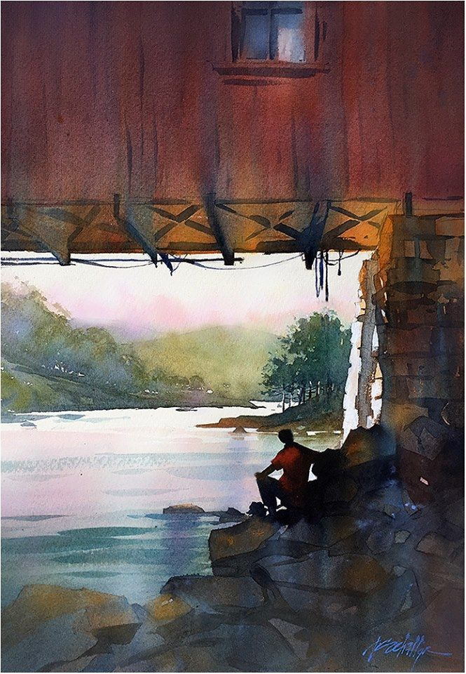 By The Housatonic Connecticut Thomas W Schaller Watercolor
