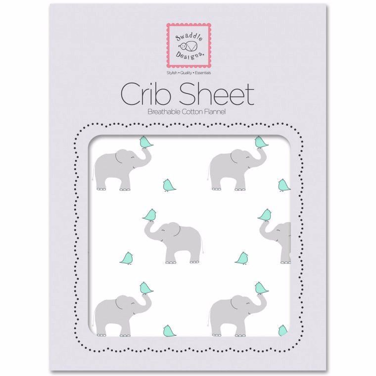 Flannel Fitted Crib Sheet Elephant & Chickies