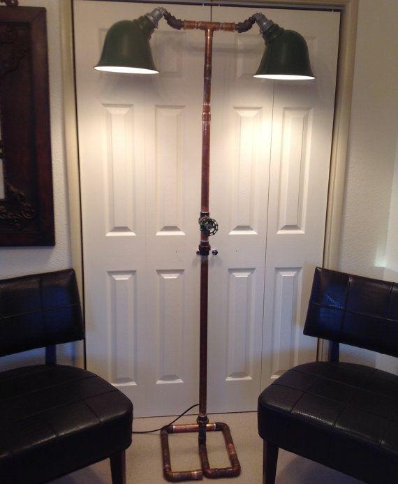 Industrial Art Double Light Floor Lamp Steampunk Floor Light with ...
