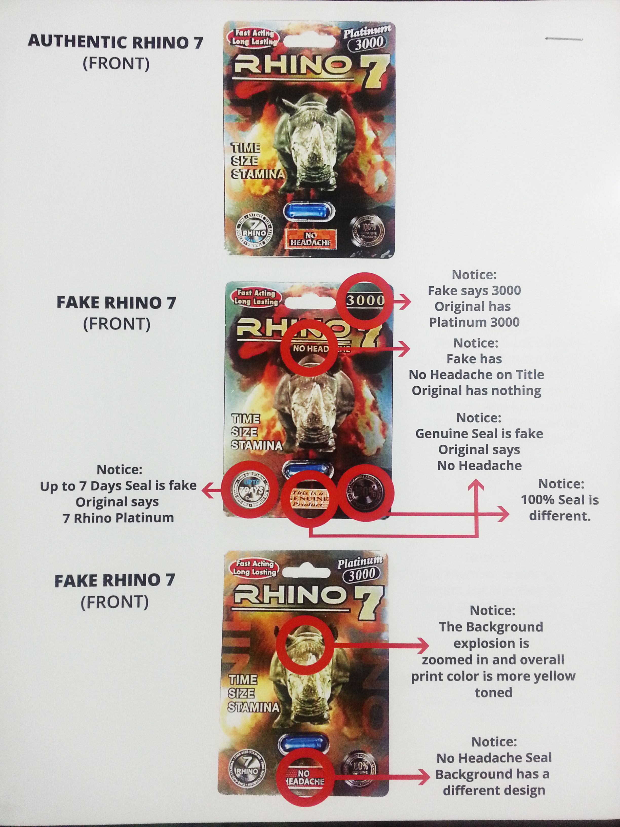 Counterfeit vs original Rhino 7 Platinum 3000  It's not hard to tell the real from the fakes.