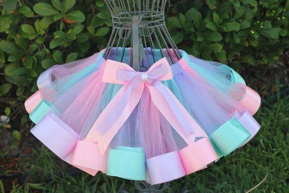 Girls Ribbon Edge Trim Tutu Aqua Blue Lavender Pink
