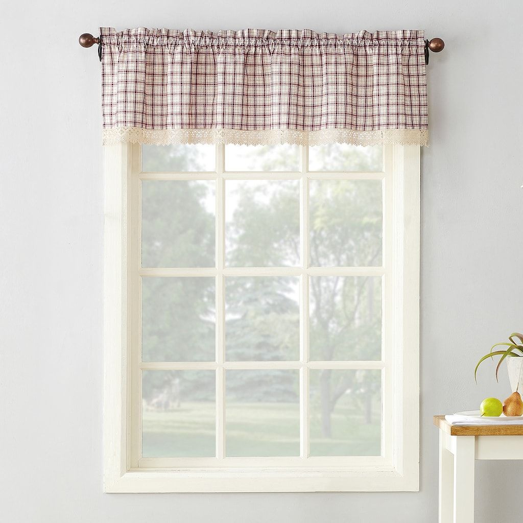 No918 Maisie Plaid Straight Kitchen Window Valance, Blue (Navy ...