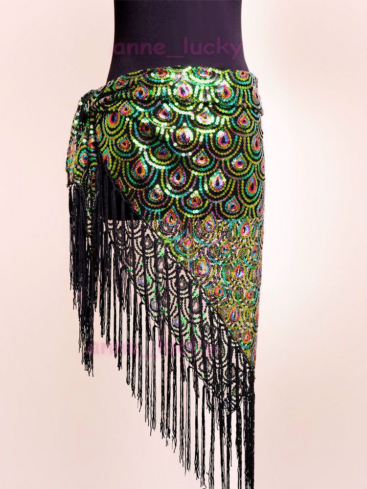 84fa36eb4 Belly Dance Peacock Hip Scarf Belt Sequins Tribal Fringe Triangle Shawl 3  colour