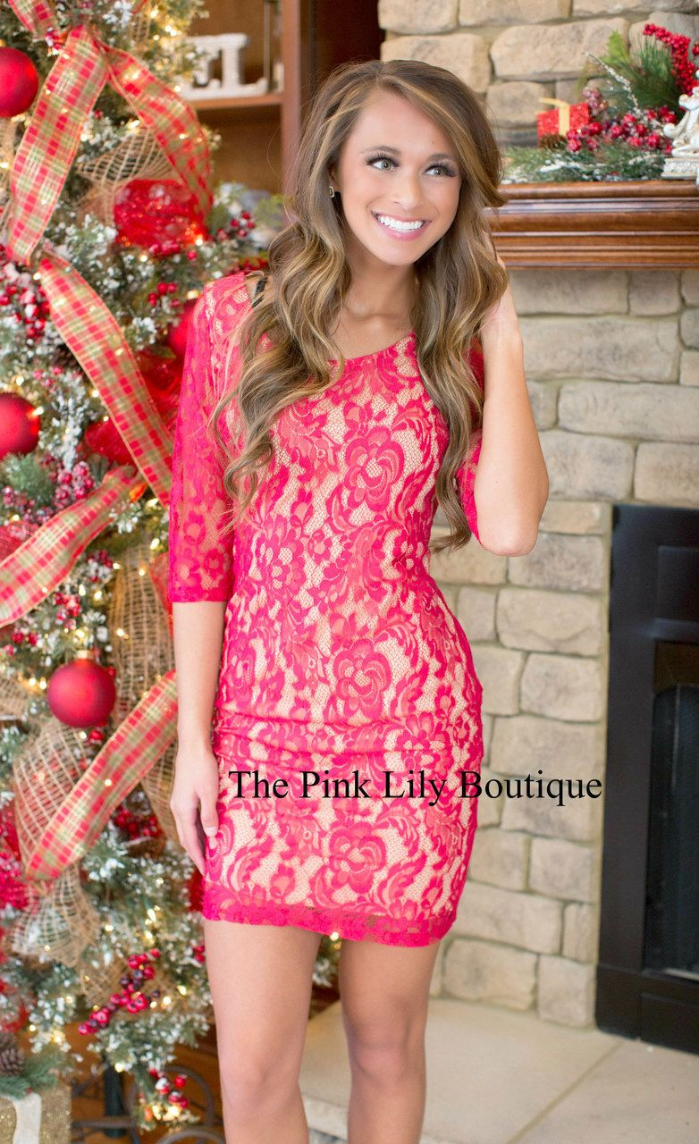 Elegant Arrival Red Lace Dress - The Pink Lily Boutique   Damas ...