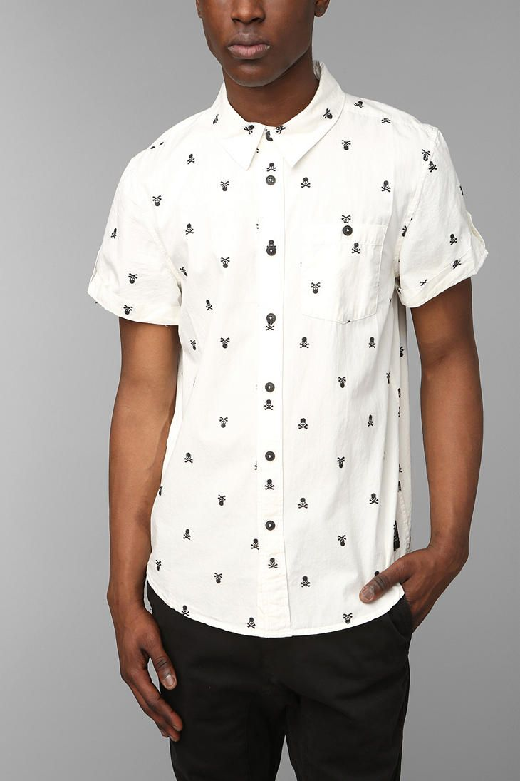 9b3877e2 KC By Kill City Skull Embroidery Button-Down Shirt in 2019 | Wants ...