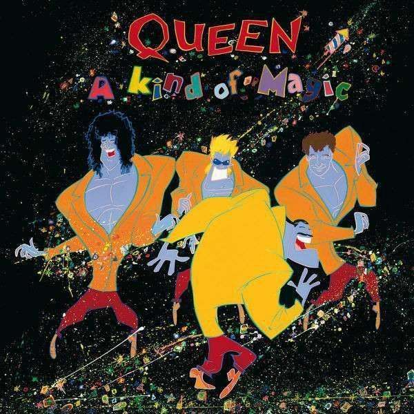 "Queen - A Kind Of Magic (1986). La carátula fue creada por, Roger Chiasson. Temas destacados: ""One vision"", ""A kind of magic"" y ""Princes of the universe"". Todas las canciones a excepción de ""Pain is so close to pleasure"" son parte de la banda sonora de la película, Highlander / Los Inmortales (1986)."