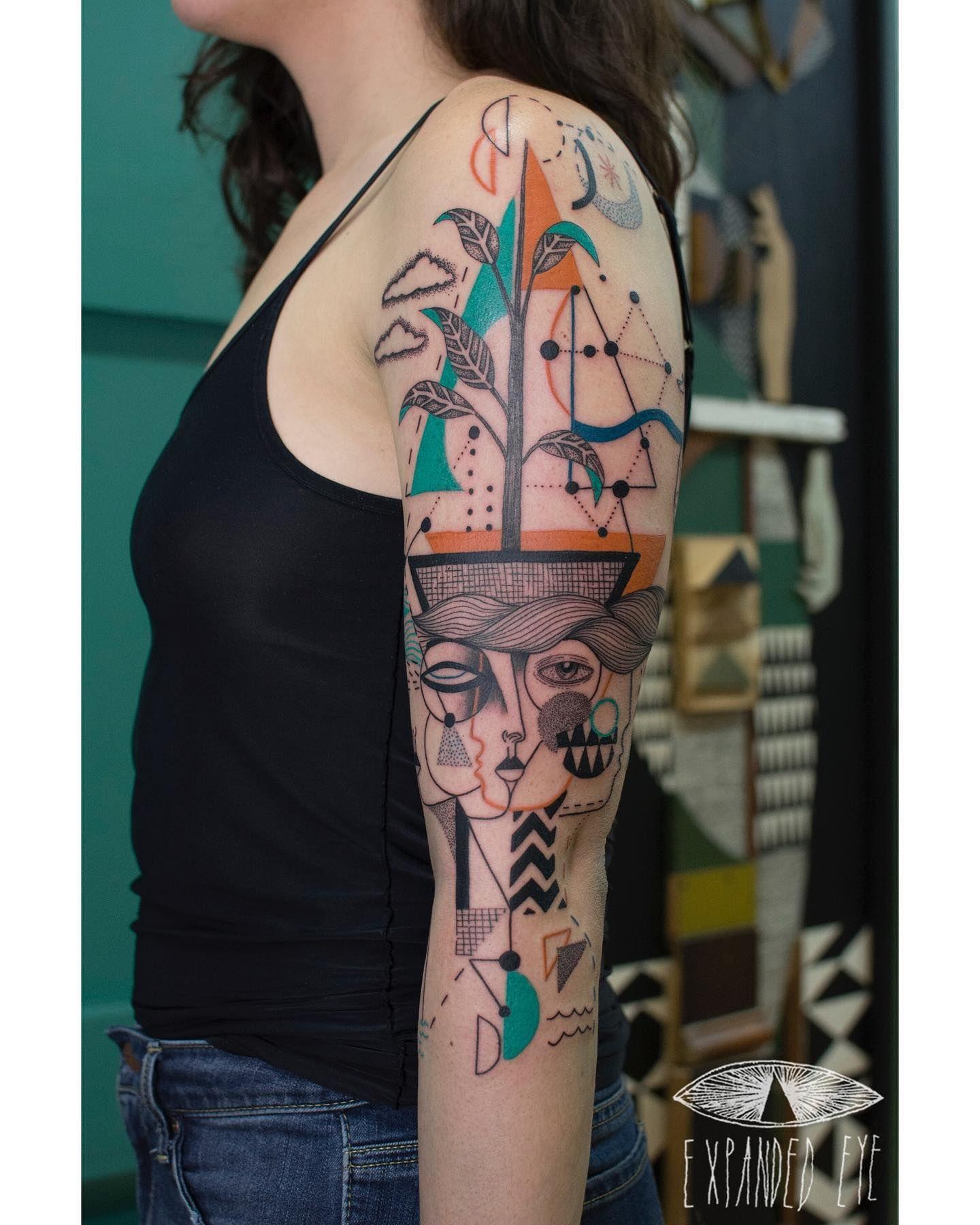 Expanded eye tattoo tattoos geometric watercolor
